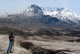 Ash mud flows at Mt Saint Helens
